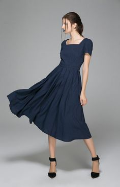 Navy blue linen dress - swing midi dress with square neckline - Custom made dress - Handmade by xiaolizi - plus size Available (1398)