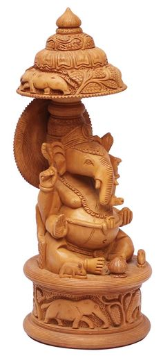 Bulk Wholesale Hand-Carved Statue / Sculpture of 'Lord Ganesha Sitting Under an Umbrella' in Kadam Wood – Traditional-Look Home Décor Item