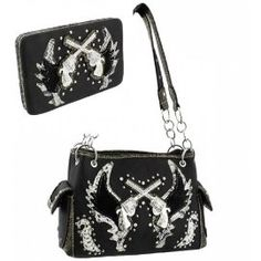 Black Western Cross Guns and Wing Purse W Matching Wallet