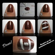 How To Do: Easy Football Nail Design
