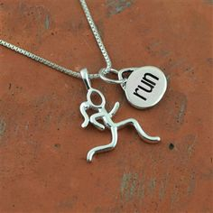 Sterling Silver Stick Figure Runner and Run Charm Necklace  | Sterling Silver Running Jewelry