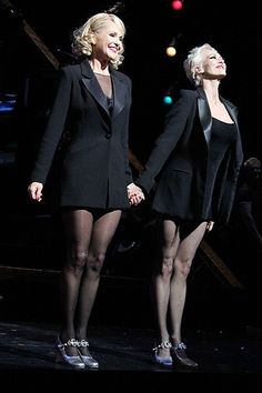 """ABOUT THIS PHOTO:  """"CHICAGO""""  Broadway blondes! Stars Christie Brinkley and Amra-Faye Wright step out hand in hand at Chicago's curtain call."""