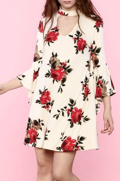 Floral bell sleeve dress with keyhole detail on neckline.   Floral Dress by Polly & Esther. Clothing - Dresses - Long Sleeve Clothing - Dresses - Floral Clothing - Dresses - Mini New York City