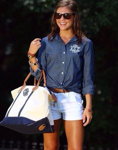 Love this preppy look!  Monogram and denim!