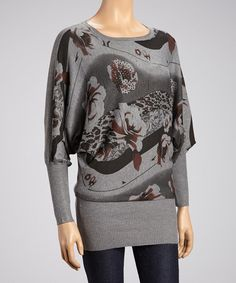 Take a look at this Gray Abstract Long-Sleeve Top by High Secret on #zulily today!