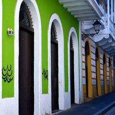 adjoining #doors #lime #green #yellow
