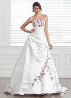Wedding Dresses - $216.99 - A-Line/Princess Strapless Chapel Train Satin Wedding Dress With Embroidered Beading (002005282) http://jjshouse.com/A-Line-Princess-Strapless-Chapel-Train-Satin-Wedding-Dress-With-Embroidered-Beading-002005282-g5282?snsref=pt&utm_content=pt