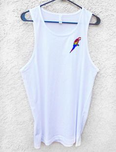 Parrot Tank Top, Women's Tank Top, White Tank Top, Embroidered Tank Top, Patch , Summer Patch Top, Bathing Suit cover by FeastorFamineDesigns on Etsy https://www.etsy.com/listing/516321918/parrot-tank-top-womens-tank-top-white