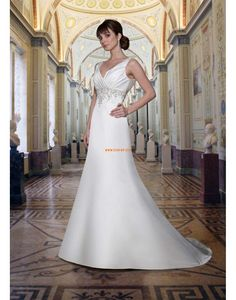 Satin Sleeveless Natural Wedding Dresses 2014