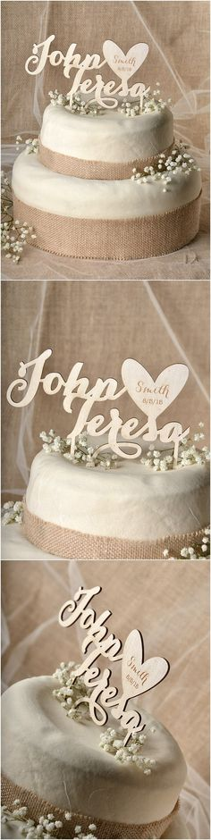Rustic country laser cut wood wedding cake topper ideas @4LOVEPolkaDots