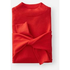 Everlane Women's Cashmere Crop Mockneck Sweater ($100) ❤ liked on Polyvore featuring tops, sweaters, persimmon, red crop top, red oversized sweater, mock neck crop top, red cropped sweater and oversized cashmere sweater