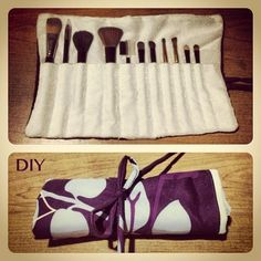 So happy with my new makeup brush holder! I wanted this for traveling, and I saw it for $35 dls! Do it yourself! You can find easy steps at: http://www.centsationalgirl.com/2012/04/diy-makeup-brush-holder/ I spent $0 dls cause these are reused fabrics <3 =)