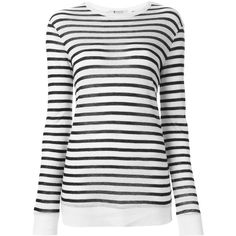 T by Alexander Wang Striped Long Sleeves t.shirt ($69) ❤ liked on Polyvore featuring tops, navy, long-sleeve shirt, navy blue long sleeve shirt, shirt tops, navy shirt and striped long sleeve shirt