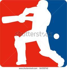 vector illustration of a cricket sports player batsman silhouette batting set inside a red blue square format shape - stock vector #cricketworldcup #retro #illustration
