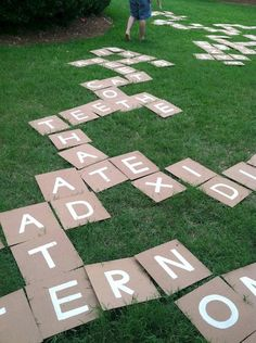 DIY Outdoor Scrabble or Bananagrams tiles. Take thin board, paint pens, or stencils and spray paint (with an adult's help) and turn a word game into an outdoor fun game! - This would be great for a literacy activities day. Outdoor Summer Activities, Outdoor Fun, Fun Activities, Outdoor Twister, Outdoor Parties, Outdoor Learning, Outdoor Toys, Sisterhood Activities, Backyard Games