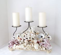 Candleholder Shells Candlestand Centerpiece Fireplace Accent