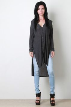 Longline Button Down High Low Top