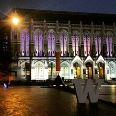 Festive evening at the UW. Photo captured outside of Suzzallo Library.