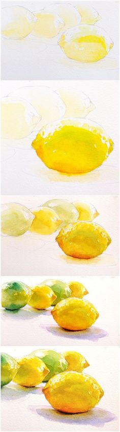Painting instructions lemons watercolor step by step Painting instructions Lemons Watercolor Step by step Learn to paint better Painting courses Online course Watercolor Fruit, Watercolor Tips, Watercolour Tutorials, Watercolor Techniques, Watercolour Painting, Painting Techniques, Painting & Drawing, Lemon Painting, Watercolors