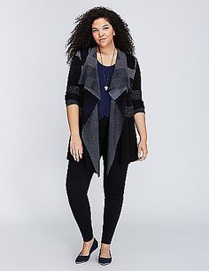 Consider this sweater your reason to spend more time outside. (Plus, that plaid-to-black ombre.) Open, drape front. lanebryant.com