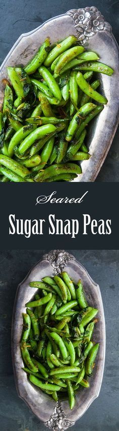 Seared Sugar Snap Peas ~ Sugar snap peas seared in olive oil with green onions, mint, lemon zest and black pepper. ~ http://SimplyRecipes.com