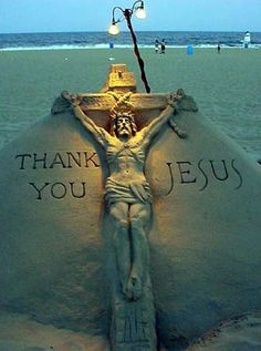 Sand Sculpture - God Loves You - Share or Like if you feel his love - http://www.facebook.com/pages/God-Loves-You/177820385695769