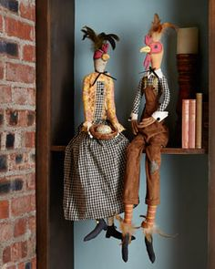 -56V6 Gathered Traditions by Joe Spencer Reginald Rooster & Hermione Hen Decorative Figures