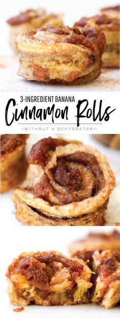 The easiest cinnamon rolls with just 3 ingredients and no dehydrator necessary! A healthy vegan, gluten-free, refined-sugar free snack or dessert.