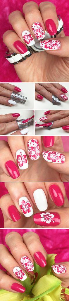"""Nail Stencils design """"Aloha"""" by Unail $5 #nails #nailart #naildesign #easynail #nailstencil #nailpattern #nailvinyl"""