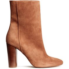 H&M Suede boots (€96) ❤ liked on Polyvore featuring shoes, boots, dark beige, suede leather boots, beige shoes, zipper boots, high heel boots and beige boots