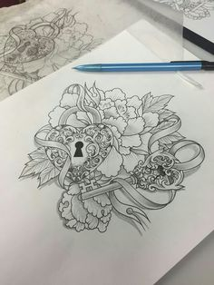Skull locket key flower butterfly tattoo freedom for Pretty key tattoos