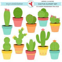 Cactus Clipart Set - clip art set of cactus, cacti, cactuses, plants, desert…