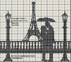 Couple in front of Eiffel Tower Cross Stitch Love, Cross Stitch Charts, Cross Stitch Designs, Cross Stitch Patterns, Cross Stitching, Cross Stitch Embroidery, Embroidery Patterns, Crochet Cross, Filet Crochet