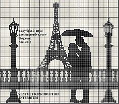 Grille gratuite point de croix : Les amoureux de la Tour Eiffel