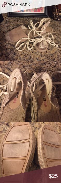 Shoedazzle (Just Fab) Lace-up Espadrilles Cream & tan flats (barely worn) JustFab Shoes Espadrilles