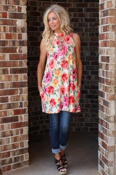 One Faith Boutique - Flower Child Mock Neck Sleeveless Tunic ~ Cream ~ Sizes 4-10, $35.00 (https://www.onefaithboutique.com/new-arrivals/flower-child-mock-neck-sleeveless-tunic-cream-sizes-4-10/)