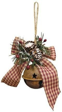 Lovely Diy Rustic Christmas Ornaments Ideas Happy New Year Primitive Christmas Ornaments, Country Christmas Trees, Christmas Bells, Christmas Holidays, Christmas Wreaths, Christmas Decorations, Holiday Tree, Christmas Angels, Modern Christmas