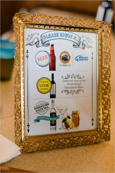 let your guests know what is available at the bar with a cute framed sign #weddingreception #weddingbar #weddingchicks http://www.weddingchicks.com/2014/02/06/rhythm-and-recovery-wedding/