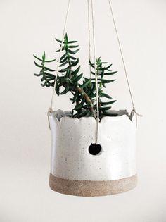 snowy hanging planter