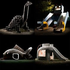 Kito Fujio has the most incredible gallery of photos of Japanese Park Playground Equipment at night. So many fun nature inspired designs and funky architectural forms. Modern Playground, Park Playground, Natural Playground, Playground Design, Outdoor Playground, Kids Amusement Parks, Japanese Park, Building For Kids, Japanese Architecture
