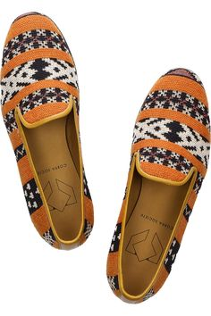 Cobra Society  Najet leather-trimmed tapestry loafers