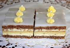 Citrónovo-orechové rezy Czech Recipes, Ethnic Recipes, Desert Recipes, Vanilla Cake, Nutella, Tiramisu, Cooker, Cheesecake, Kitchens