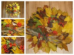 Autumn decoration. It´s very easy! You will need: leaves, fine wire, plastic wreath, briers, cones and glue. Put the leaves on the plastic wreath with the fine wire. Cones and briers with the glue. Have fun!
