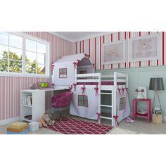 Cama Alta com Escrivaninha e Cabaninha Dicolori Branco e Rosa Bresolin