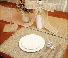 Each Qty of 1 when you order will be for a table of ten people and will include the below. If you have 6 tables you would put a qty of 6 when you place your order, etc.  Set comes with the following: - One plain burlap table runner (lay on top of Table only OR overhang each side by 15 inches) - Ten 13 x 18 inch burlap placemats.with frayed sides - Ten 5 x 5 inch burlap coasters with frayed sides - One Pre-Tied burlap bow (choice of thread trim color)   For the runner, the long sides are…