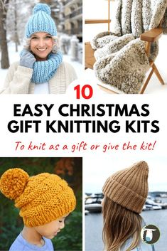 10 Gifts to Knit for Christmas - Try a Knitting Kit! These quick-knit projects take the guesswork out of selecting the right yarn and pattern. Just grab a knitting kit and you're on your way. All of these kits are great for knitting or gifting to your fave knitter. Beginner Knitting Patterns, Easy Knitting Projects, Knitting Kits, Knitting For Beginners, Loom Knitting, Knitting Ideas, Simple Christmas, Christmas Gifts, Quick Knits
