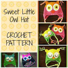 Sweet Little Owl Hat - Crochet Pattern