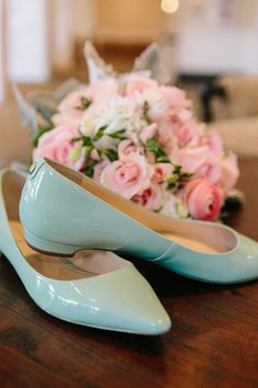 """Wear teal wedding flats as your """"something blue""""! {@pinriverland}"""