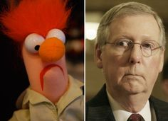 Political Look-Alikes: Beaker & Senator Mitch McConnell- Political Commie Muppet