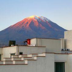 Magic hour shot of Misti Volcano in Arequipa, Peru.
